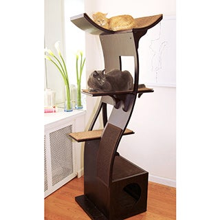 The Refined Feline&#39;s Lotus Espresso Color Cat Tower