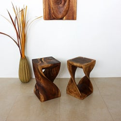 12 inches Square x 20-inch Wooden Hand-carved Walnut Oil Twist Stool (Thailand)
