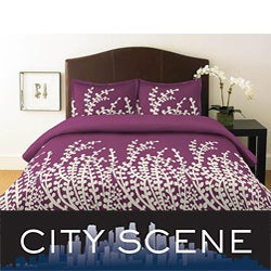 City Scene Branches Purple 3-piece King-size Duvet Cover Set