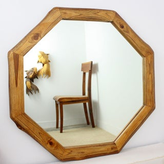 Teak Wood Walnut Oil Finish Octagon Mirror (Thailand)