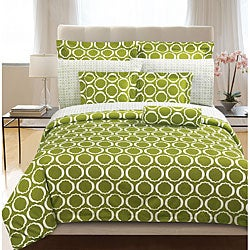 Green Scroll 3-piece Full/ Queen-size Duvet Cover Set
