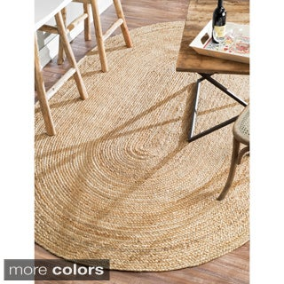 nuLOOM Alexa Eco Natural Fiber Braided Reversible Oval Jute Rug (5' x 8' Oval)