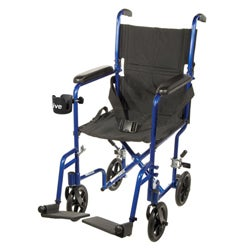 Deluxe Lightweight Aluminum Blue Transport Wheelchair