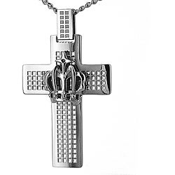 West Coast Jewelry Stainless Steel Raised Crown Cross Necklace