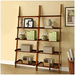 Mahogany Five-tier 2-piece Leaning Ladder Shelf Set
