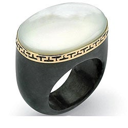 PalmBeach 14k Yellow Gold Mother of Pearl/ Black Jade Ring Naturalist