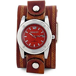 Nemesis Men's Stainless Steel Red Pattern Leather Watch
