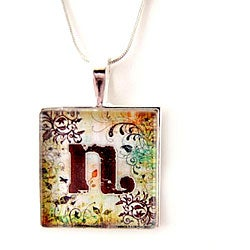 Silver and Glass Personalized Monogram Necklace
