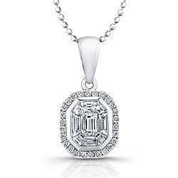 14k White Gold 1/2ct TDW Diamond Mosaic Halo Necklace