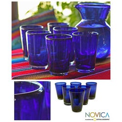 Set of 6 Hand-blown Glass &#39;Cobalt Angles&#39; Drinking Glasses (Mexico)