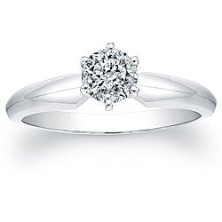 14k White Gold Certified 1/2ct TDW Round Diamond Solitaire Ring
