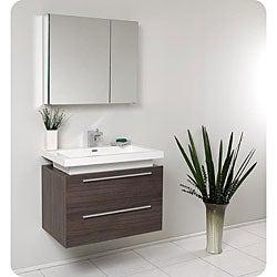 Fresca Medio Grey Oak Bathroom Vanity with Medicine Cabinet