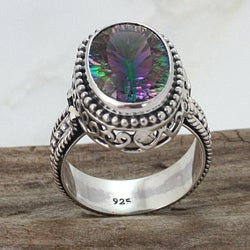 Sterling Silver Oval Mystic Quartz Filigree Mount Ring (Indonesia)