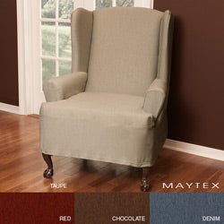 Stretch Twill Wing Chair Slipcover