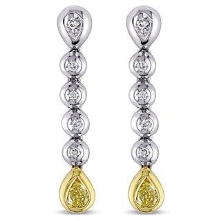 Miadora 18k White Gold 3/5ct TDW Yellow and White Diamond Earrings (G-H, SI1-SI2)