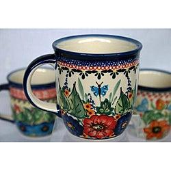 Z.C Boleslawiec Stoneware 12-oz Flowers and Butterfly Mug (Poland)