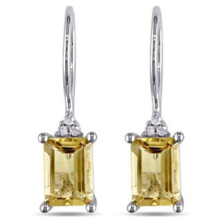 M by Miadora Sterling Silver Citrine and Diamond Earrings