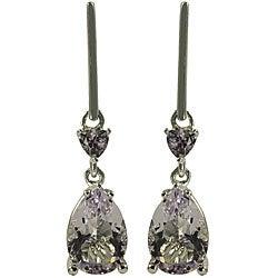 Gems For You Sterling Silver Pink Amethyst Dangle Earrings