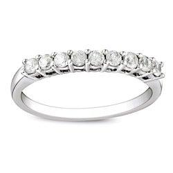 Miadora Sterling Silver 1/2ct TDW Round Diamond Wedding Band (G-H, I3)