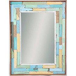 Recycled Boatwood Ratana Blocks Framed Mirror (Thailand)