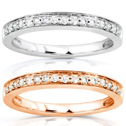 14k White or Rose Gold 1/6ct TDW Diamond Wedding Band