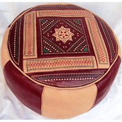 Leather Burgundy Berber Ottoman (Morocco)