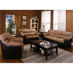 Saddle Microfiber and Espresso Bicast Loveseat