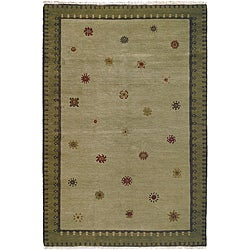 Nepalese Hand-knotted Green Sol Sage Wool Rug (2'5 x 8')