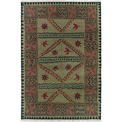 Nepalese Hand-knotted Olive Sundial Wool Rug (2' x 3')