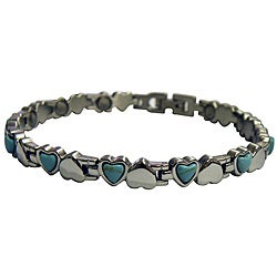 Magnetic Small Hearts Silver and Turquoise Bracelet