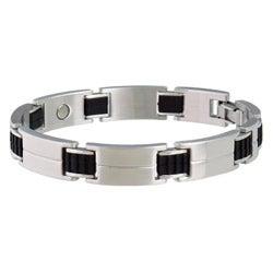 Sabona Sport Stainless Steel and Rubber Magnetic Bracelet
