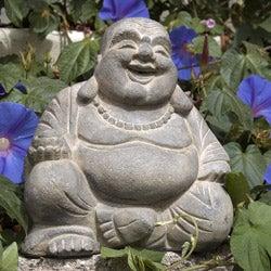 Volcanic Ash Happy Buddha Statue Stone Washed (Indonesia)