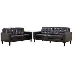 Caledonia Black Leather Modern Sofa and Loveseat Set