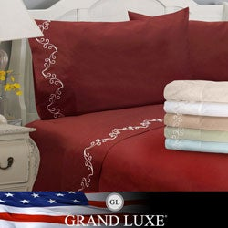 Grand Luxe Egyptian Cotton Sateen 500 Thread Count Scroll Deep Pocket Sheet Set and Pillowcase Separates