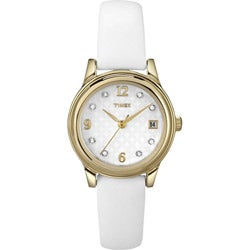 Timex Women's T2N449 Elevated Classics Swarovski Crystals Leather Strap Watch