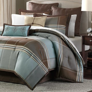 Madison Park Davenport Blue/ Brown 8-piece Comforter Set