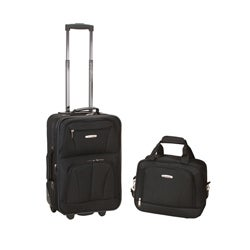 Rockland Expandable 2-piece Black Lightweight Carry-on Luggage Set