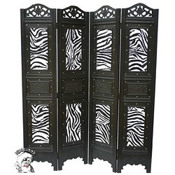 Phat Tommy Zebra Pattern 4-panel Wood Room Divider Screen