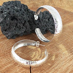 Sterling Silver Hammered Concave Hoop Earrings (Mexico)
