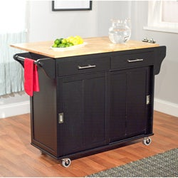 Wooden Drop Leaf and Sliding Doors Kitchen Cart
