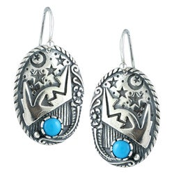 Southwest Moon Sterling Silver Turquoise Moon and Stars Earrings