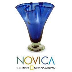 Handblown Glass 'Cobalt Patch' Vase (Mexico)