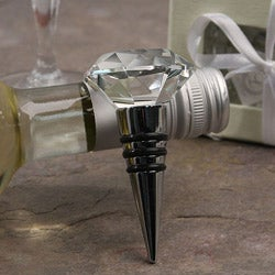 Murano Clear Facet and Stainless Steel Bottle Stopper