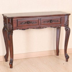 Carved Wood Queen Anne Two-drawer Style Hall Table