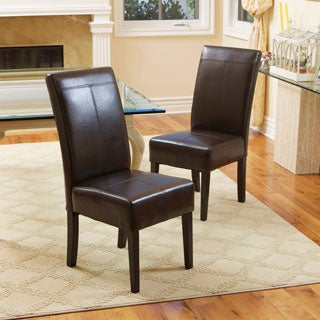 Christopher Knight Home T-stitch Chocolate Brown Leather Dining Chairs (Set of 2)