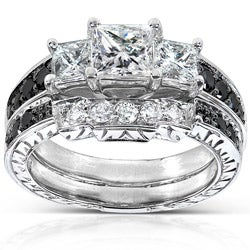 14k White Gold 1 3/5ct TDW Black and White Diamond Bridal Ring Set