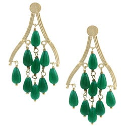 Rivka Friedman 18k Gold Overlay Green Quartzite Chandelier Earrings