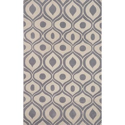 Hand-tufted Modern Waves Grey Rug (8'0