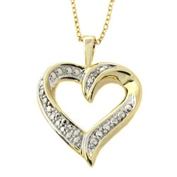 Finesque 14k Gold Overlay Diamond Accent Heart Necklace