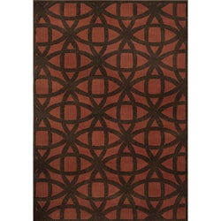 Miramar Rust/Brown Geometric Area Rug (7'10 x 10'0)